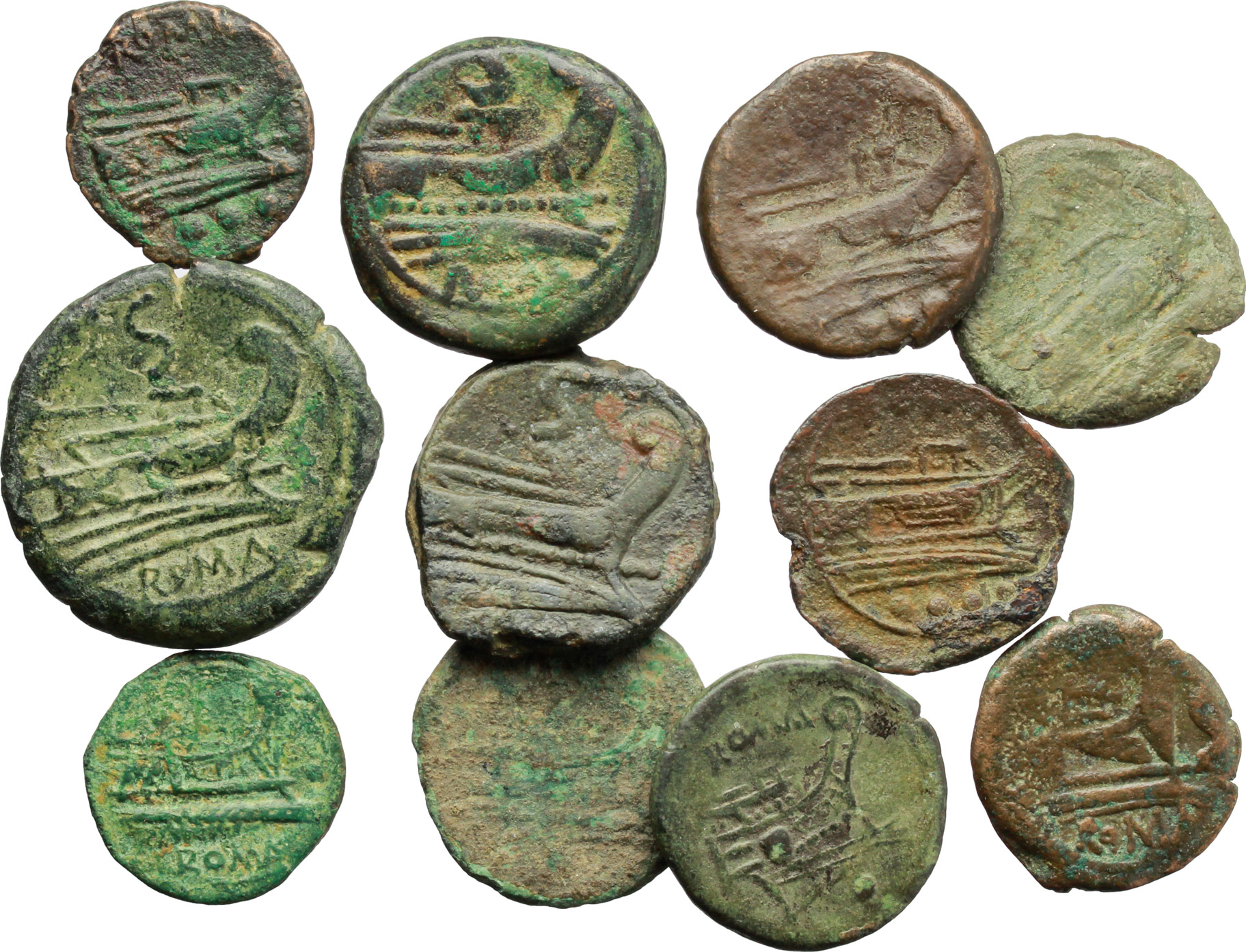 D/ Roman Republic.  Multiple lot of eleven (11) unclassified AE coins.          About VF:VF.
