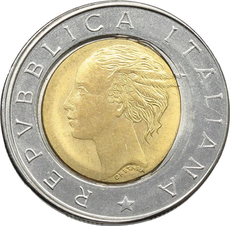 D/  500 lire 1992 ERRORE DI CONIO.    Mont. 26. AC-BR.      qSPL.