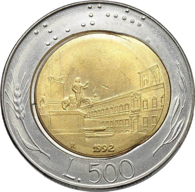 R/  500 lire 1992 ERRORE DI CONIO.    Mont. 26. AC-BR.      qSPL.