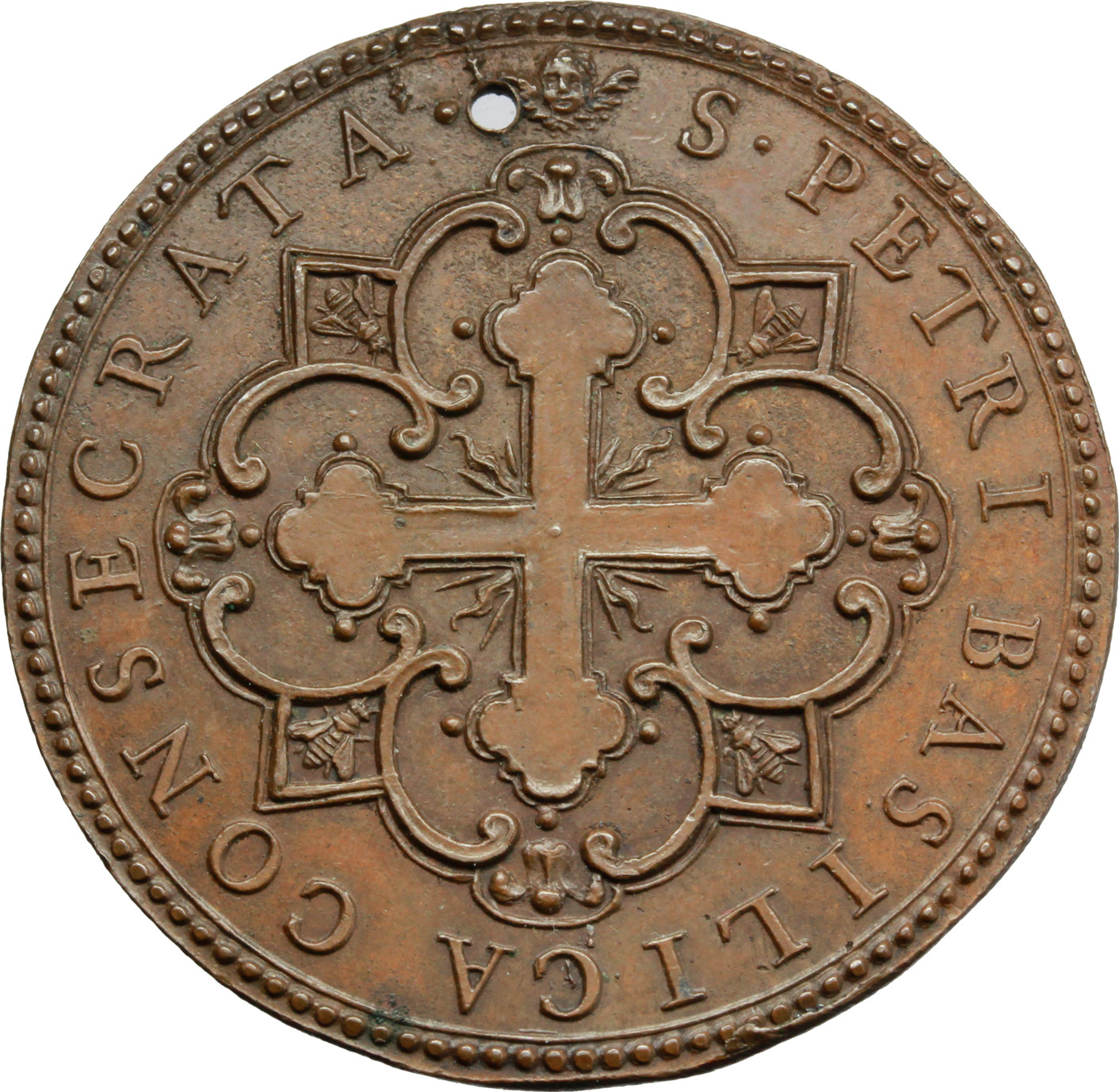 R/ Urbano VIII (1623-1644), Maffeo Barberini. Medaglia annuale, A. IV (II tipo).  D/ VRBANVS VIII PONT MAX A IIII. Busto a destra, a capo nudo con piviale; nel taglio, 1627. R/ S PETRI BASILICA CONSECRATA. Croce radiata ed ornata. Bart.E. 627b. AE.   mm. 37.00 Inc. G. Molo. RR. Foro. SPL.