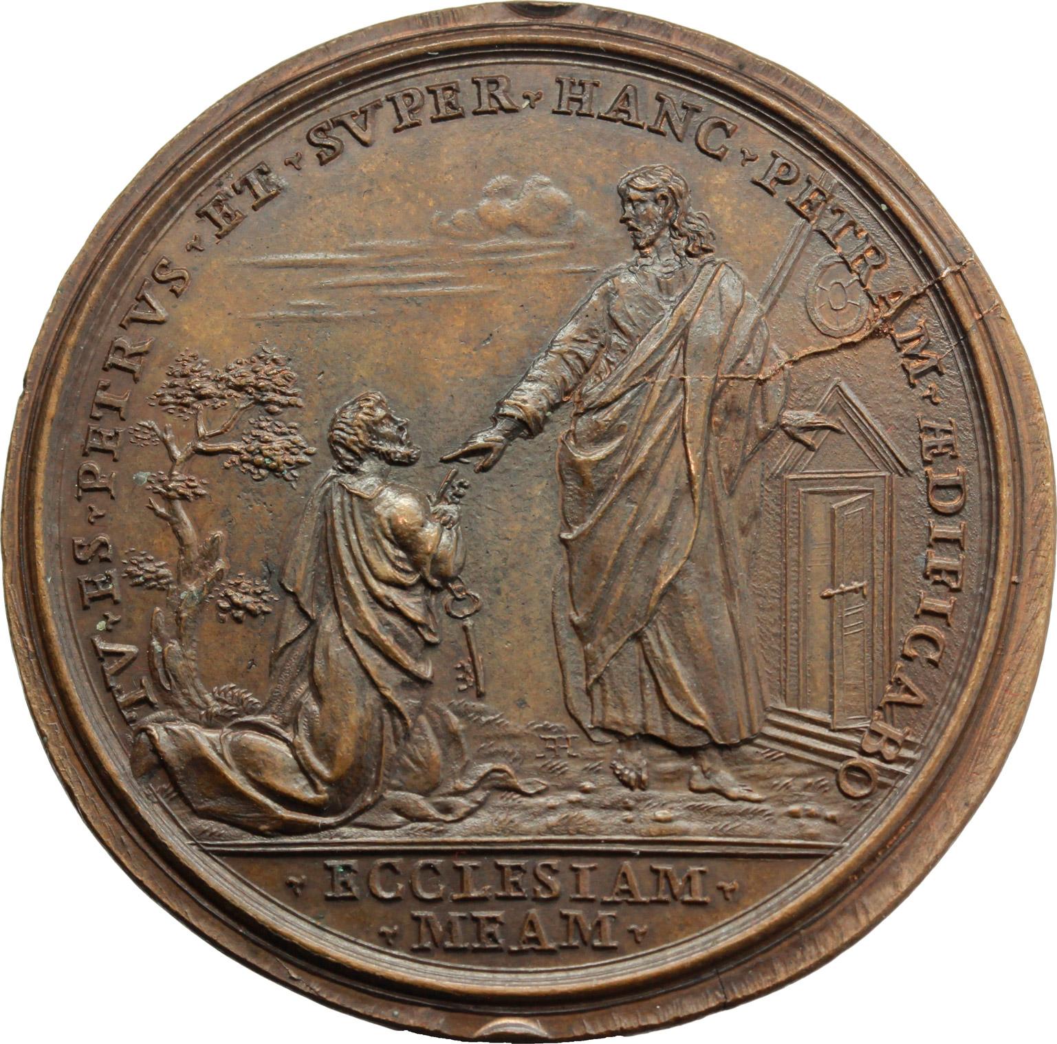 R/ Clemente X (1670-1676), Emilio Bonaventura Altieri. Medaglia A. I, per l'elezione al pontificato.  D/ CLEMENS X PONT MAX AN. I. Busto a destra con triregno e piviale. R/ TV ES PETRVS ET SVPERHANC PETRAM AEDIFICABO/ ECCLESIAM MEAM (in esergo). Gesú consegna le chiavi a S. Pietro. Mis. 4. Patr. 10. AE.   mm. 42.50    SPL.