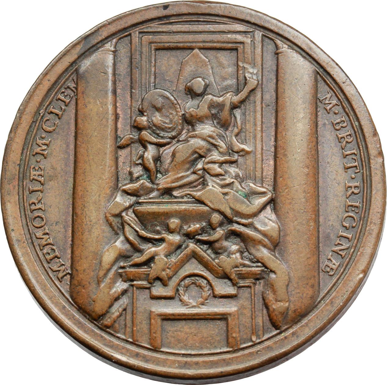 R/ Benedetto XIV (1740-1758), Prospero Lambertini. Medaglia A. III.  D/ BENED XIV PONT MAX A. III. Busto a destra con camauro, mozzetta e stola. R/ MEMORIAE M. CLEM M. BRIT REGINAE. Monumento funebre  in San Pietro. Patr. 13. AE.   mm. 35.00    BB+.