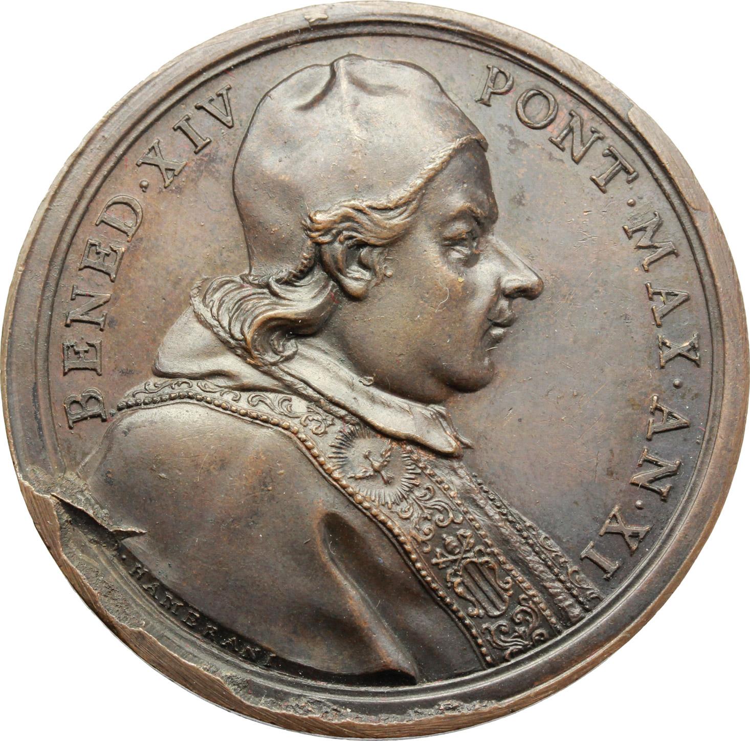 D/ Benedetto XIV (1740-1758), Prospero Lambertini. Medaglia A. XI.  D/ BENED XIV PONT MAX AN. XI. Busto a destra con camauro, mozzetta e stola. R/ EGO IVSTITIAS IVDICABO. La Sapienza pontificia; a fianco, angelo con bilancia. In esergo, SEGNATVRA GRATIAE RESTITVTA. Patr. 63. AE.   mm. 40.00 Inc. O. Hamerani.   qSPL.