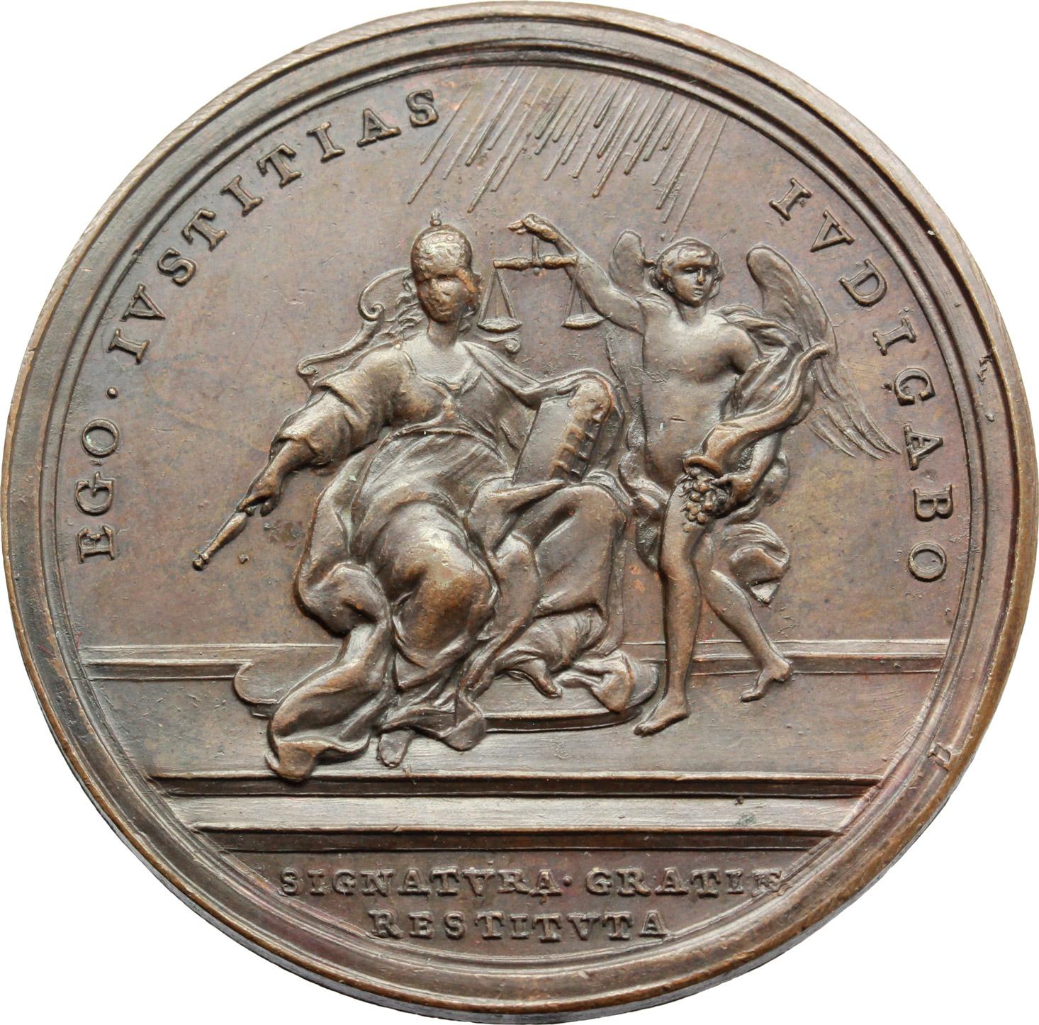 R/ Benedetto XIV (1740-1758), Prospero Lambertini. Medaglia A. XI.  D/ BENED XIV PONT MAX AN. XI. Busto a destra con camauro, mozzetta e stola. R/ EGO IVSTITIAS IVDICABO. La Sapienza pontificia; a fianco, angelo con bilancia. In esergo, SEGNATVRA GRATIAE RESTITVTA. Patr. 63. AE.   mm. 40.00 Inc. O. Hamerani.   qSPL.
