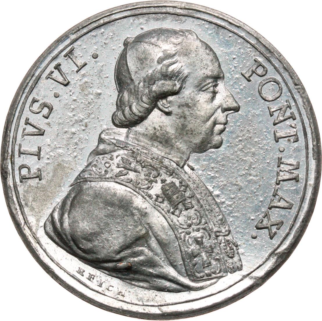 D/ Pio VI (1775-1799), Giovanni Angelo Braschi. Medaglia 1775 per l'elezione a Pontefice.     MB.   mm. 40.00 Inc. Reich. R. Piccola ossidazione al R/ SPL.