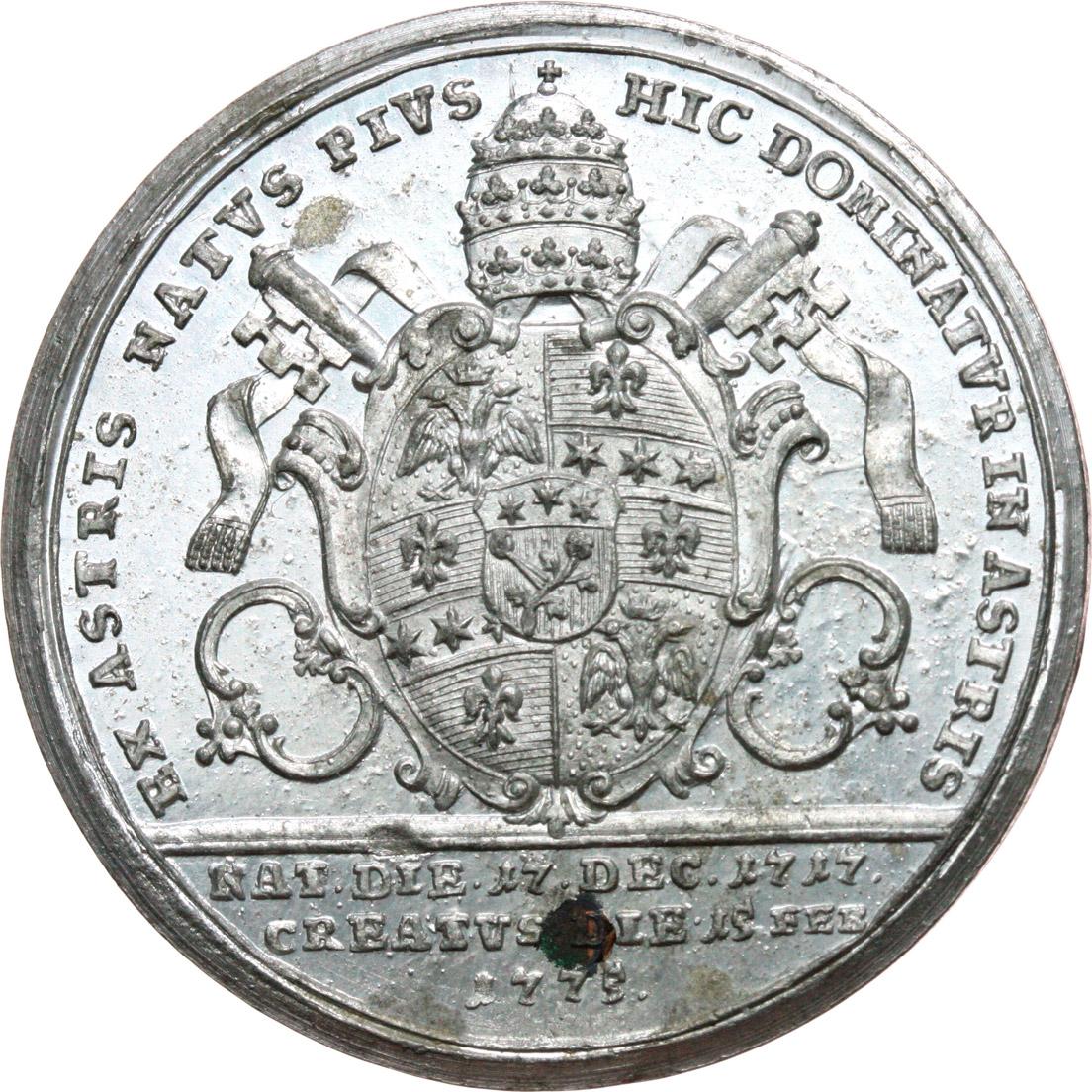 R/ Pio VI (1775-1799), Giovanni Angelo Braschi. Medaglia 1775 per l'elezione a Pontefice.     MB.   mm. 40.00 Inc. Reich. R. Piccola ossidazione al R/ SPL.