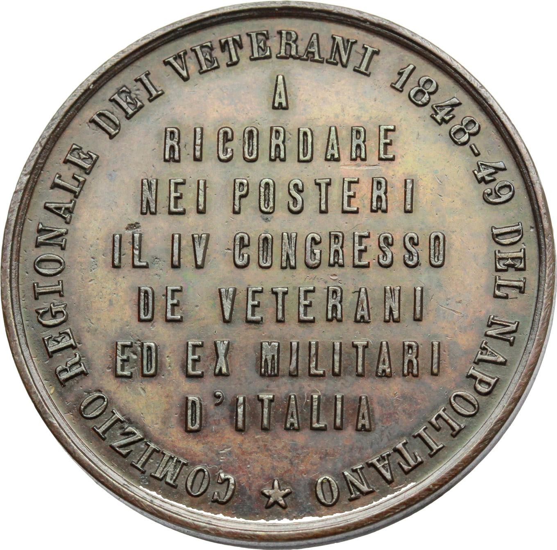 R/  Medaglia Comizio Regionale dei Veterani 1848-49 del Napolitano. IV congresso.     AE.   mm. 37.00 Inc. G. Olivieri.   SPL.