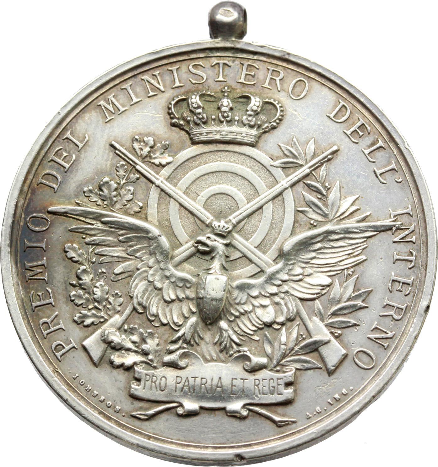 D/  Medaglia Premio del Ministero dell'Interno. 1a gara generale del tiro a segno nazionale, Roma 1890.     AG.   mm. 39.00    SPL.