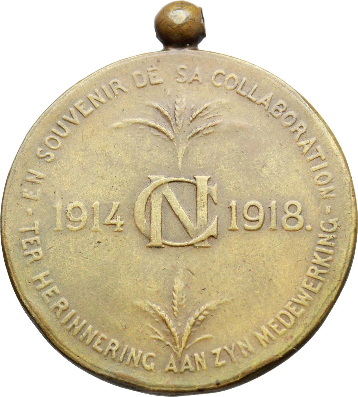 R/  Medaglia en souvenir de sa collaboration. 1914 CN 1918.     AE.   mm. 34.50 Inc. M. Zingoni.   BB.