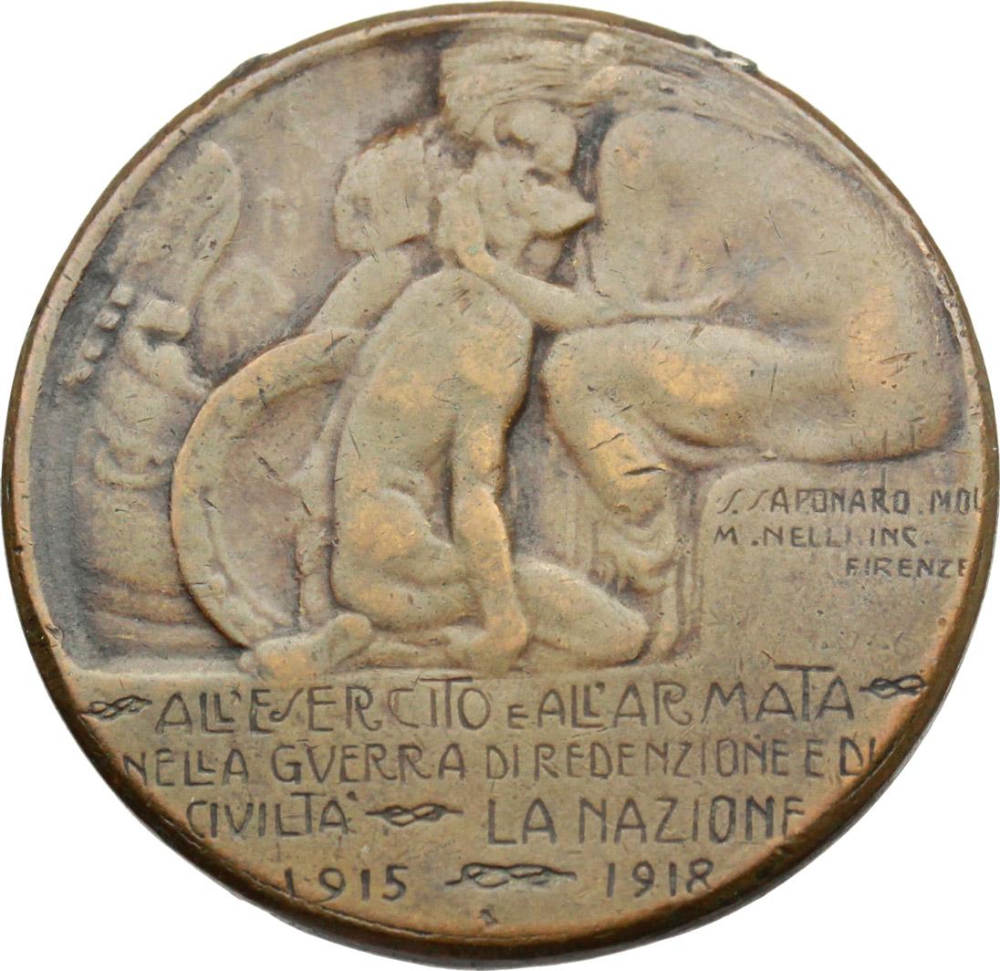 R/ Vittorio Emanuele III (1900-1943). Medaglia all'esercito e all'armata nella guerra di  redenzione e di civiltà. La Nazione 1915-1918.     AE.   mm. 30.50 Inc. Saponaro-Nelli.   qBB.