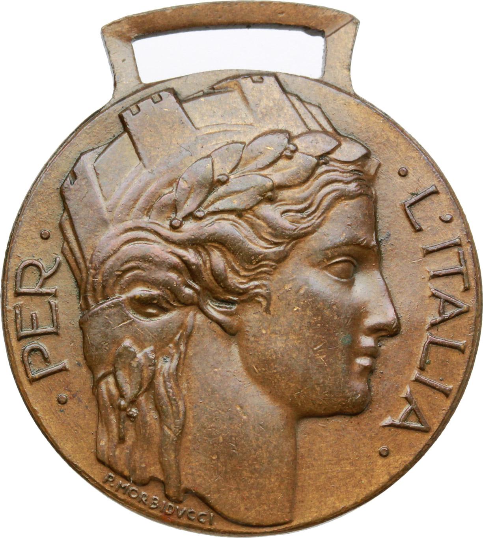 D/  Distintivo d'onore  per  gli ex irredenti italiani volontari della guerra MCMXV-MCMXVIII.    Brambilla p. 866. AE.   mm. 32.00 Inc. Morbiducci.   SPL.