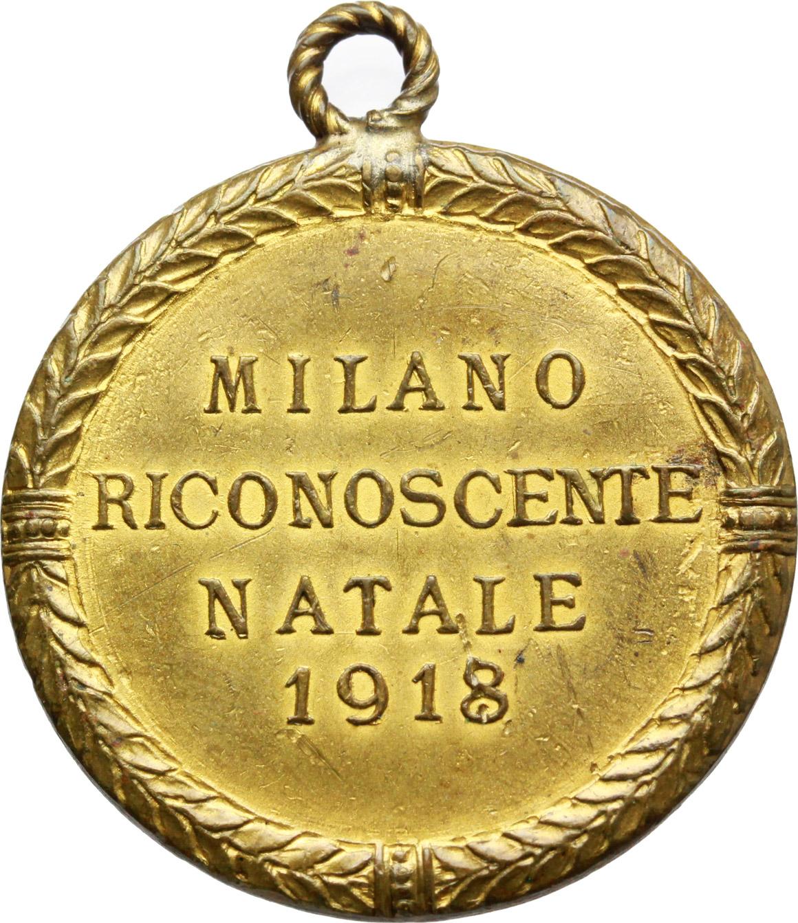 R/  Medaglia Milano riconoscente Natale 1918.     AE dorato.   mm. 31.00    BB.