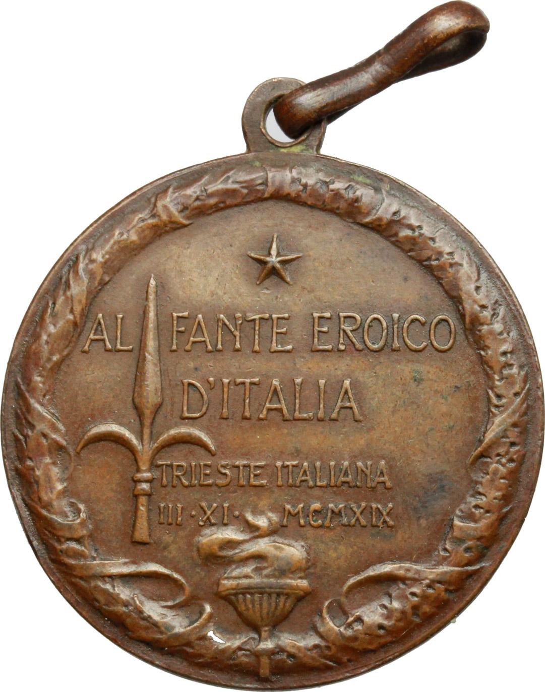 R/  Medaglia al Fante eroico d'Italia. Trieste italiana. III-XI-MCMXIX.     AE.   mm. 28.50    Bel BB.