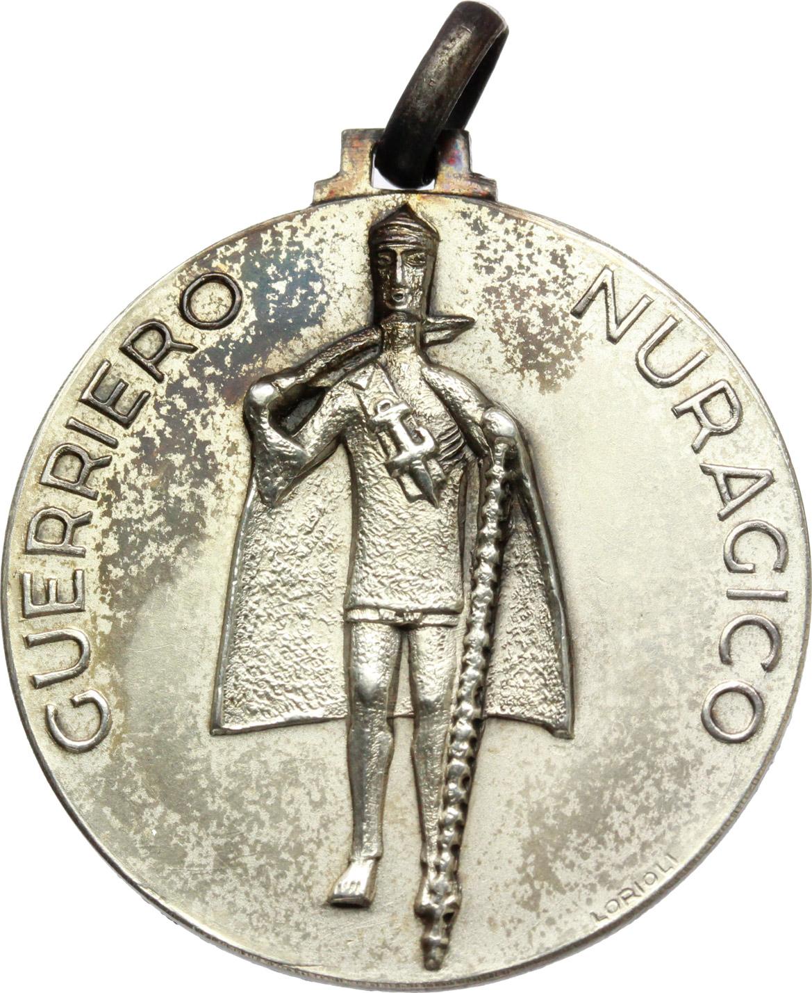 D/  Medaglia Guerriero Nuragico. Corpo delle guardie di P.S. XIII zona Sardegna.     MB.   mm. 32.60    SPL.