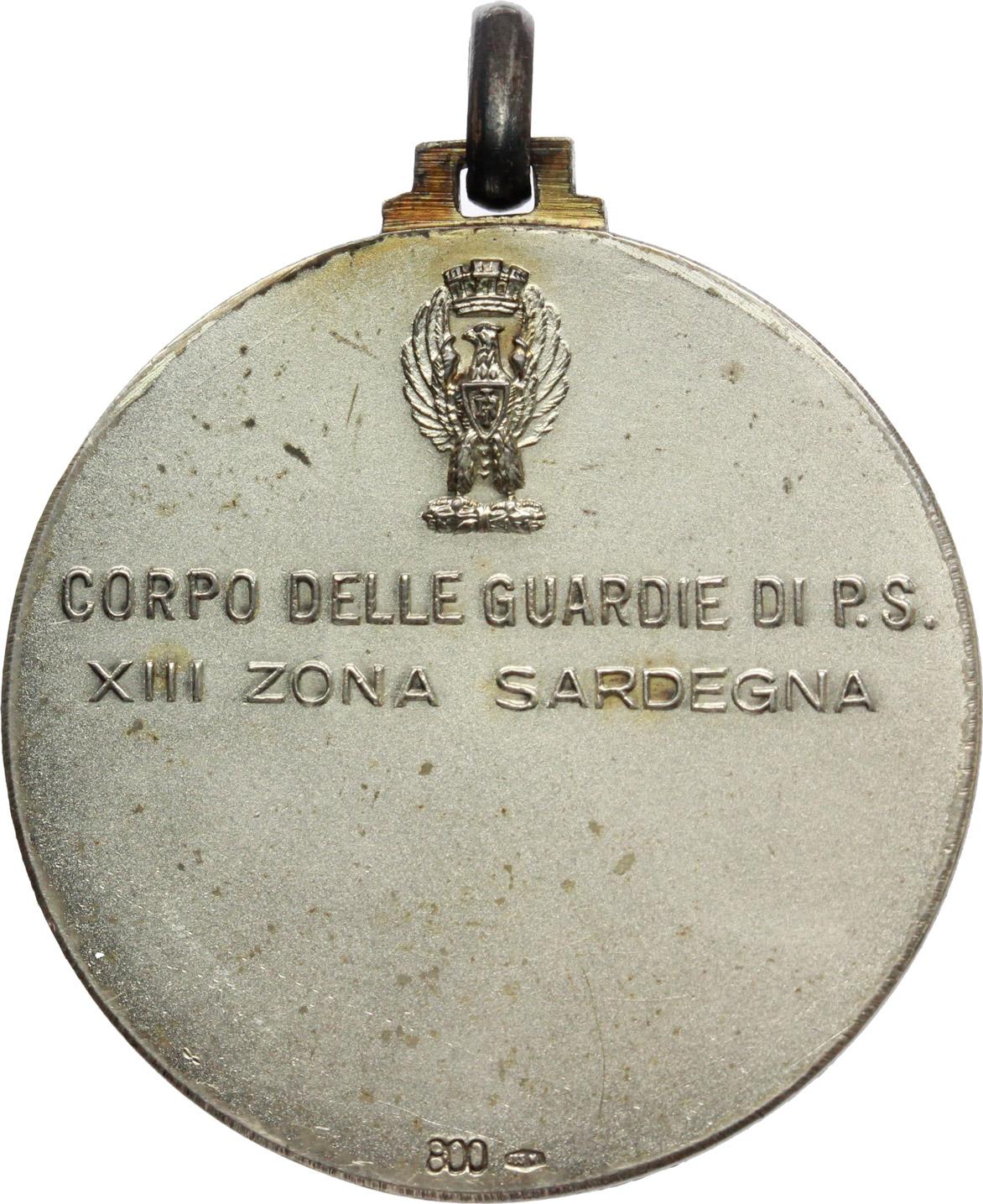 R/  Medaglia Guerriero Nuragico. Corpo delle guardie di P.S. XIII zona Sardegna.     MB.   mm. 32.60    SPL.