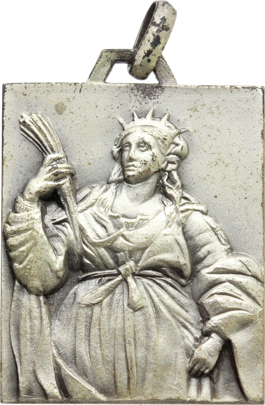 D/  Medaglietta rettangolare 17° Reggimento Artiglieria da Campagna con motto 'VEHEMENTER ET FORTITER'.     AE.     Dimensioni:: 30 x 24 mm. Bel BB.