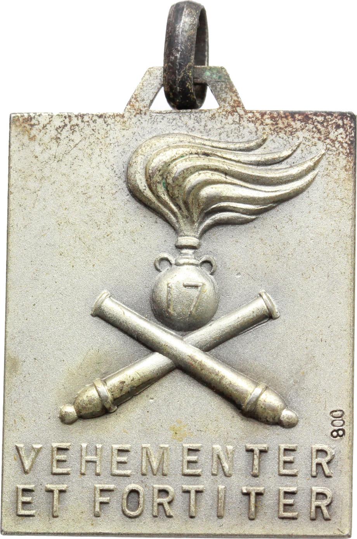 R/  Medaglietta rettangolare 17° Reggimento Artiglieria da Campagna con motto 'VEHEMENTER ET FORTITER'.     AE.     Dimensioni:: 30 x 24 mm. Bel BB.