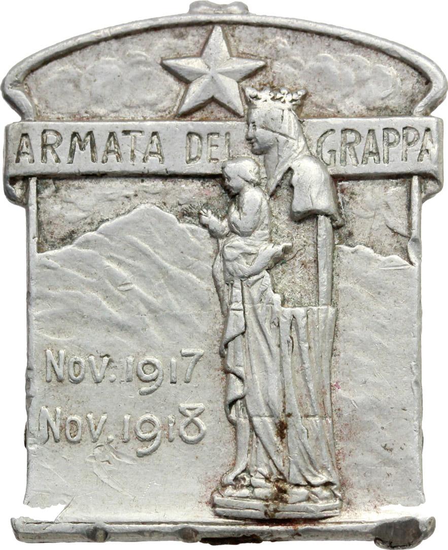 D/ Alpini. Medaglietta Armata del Grappa, nov. 1917- nov 1918.     MB.     Dimensioni: 31 x 25 mm.  Appiccagnolo rimosso. BB.