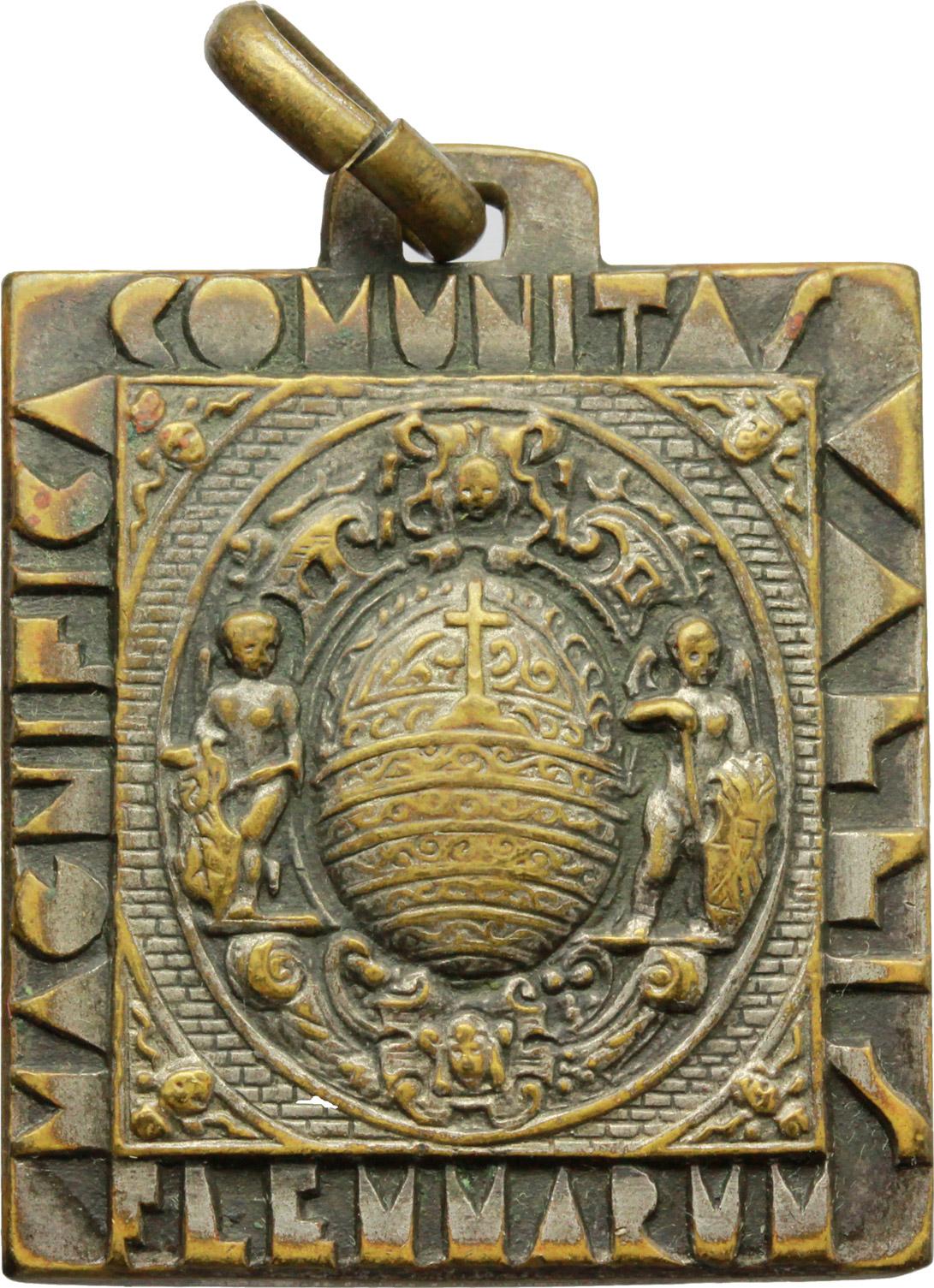 R/ Alpini. Medaglia Magnifica Comunitas Vallis Flemmarum. Cavalese.     AE.     Dimensioni: 31.5 x 28.5 mm. qSPL.