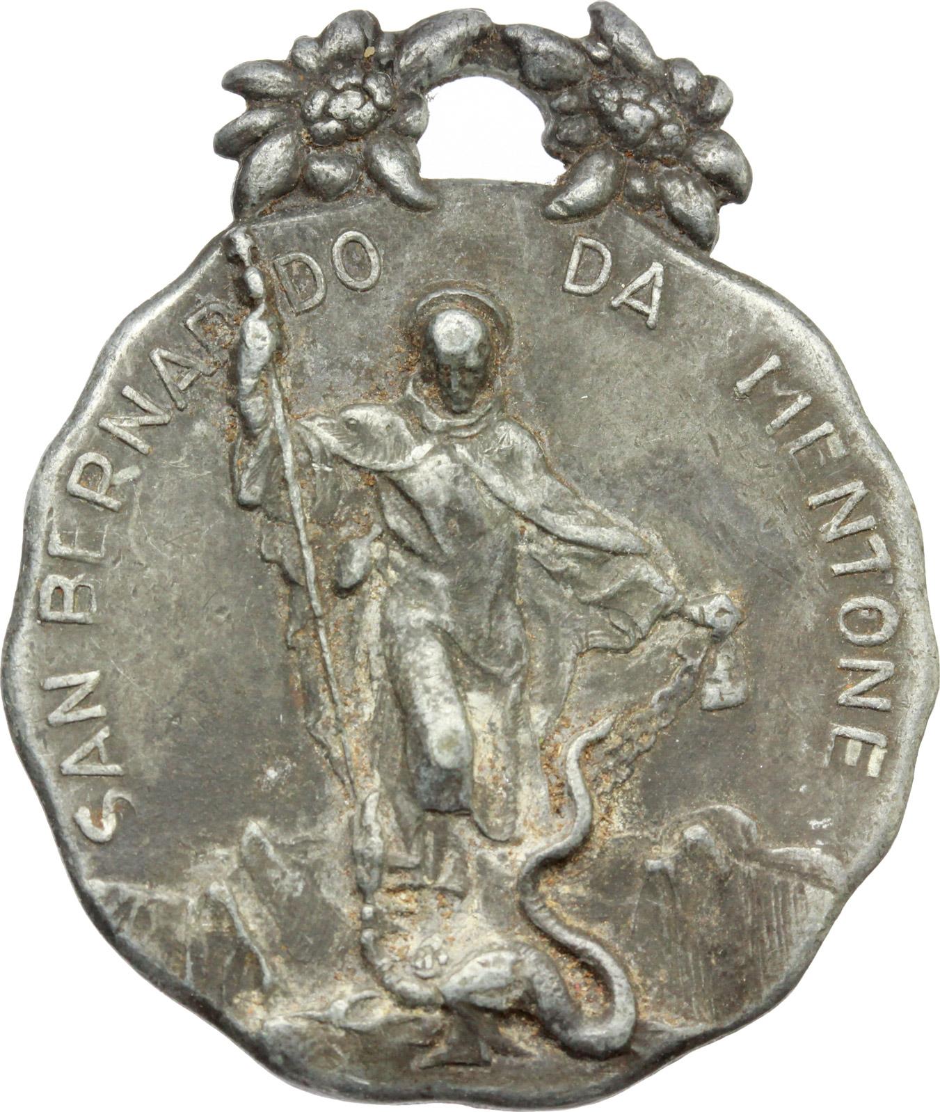 D/ Alpini. Medaglia San Bernardo da Mentone, protettore degli sciatori e alpinisti. AG.  mm. 35.00 Bel BB.