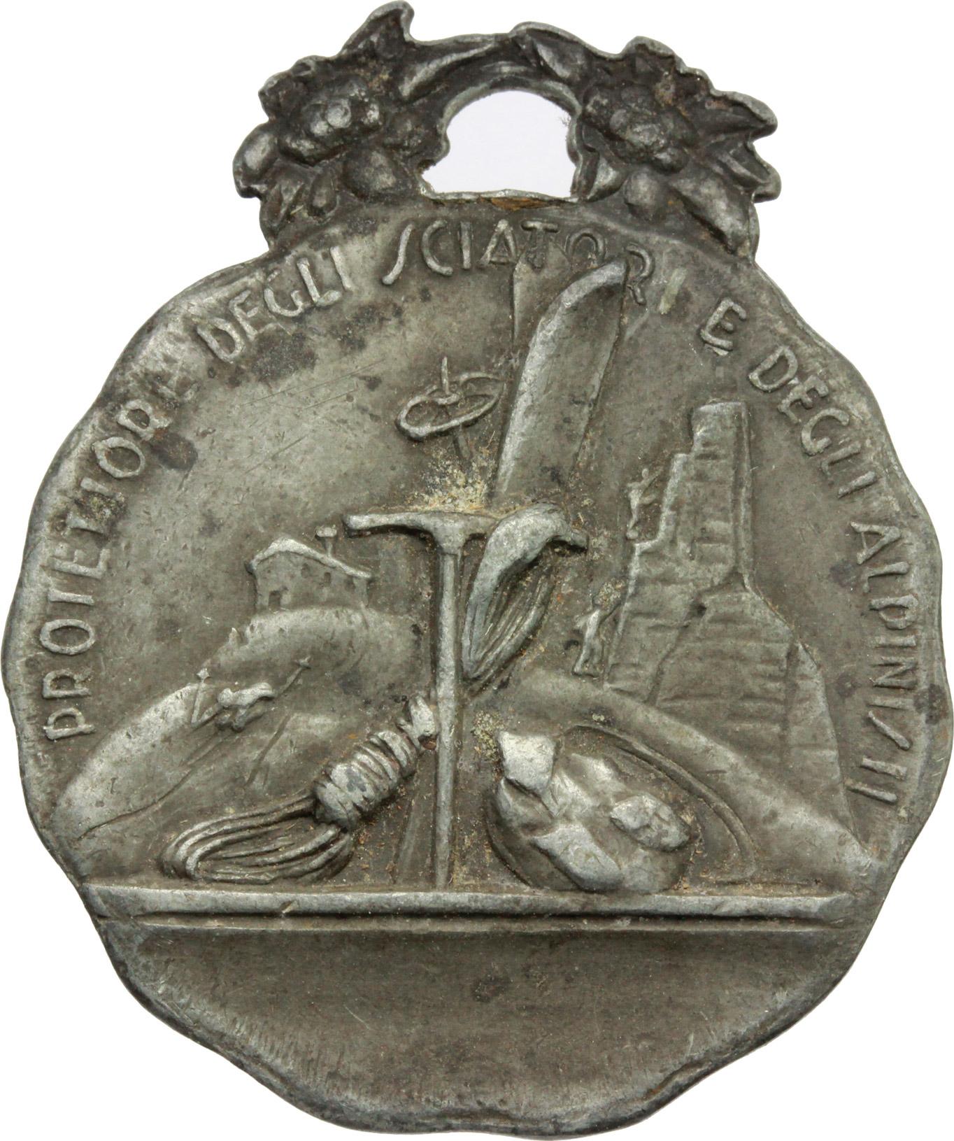 R/ Alpini. Medaglia San Bernardo da Mentone, protettore degli sciatori e alpinisti. AG.  mm. 35.00 Bel BB.