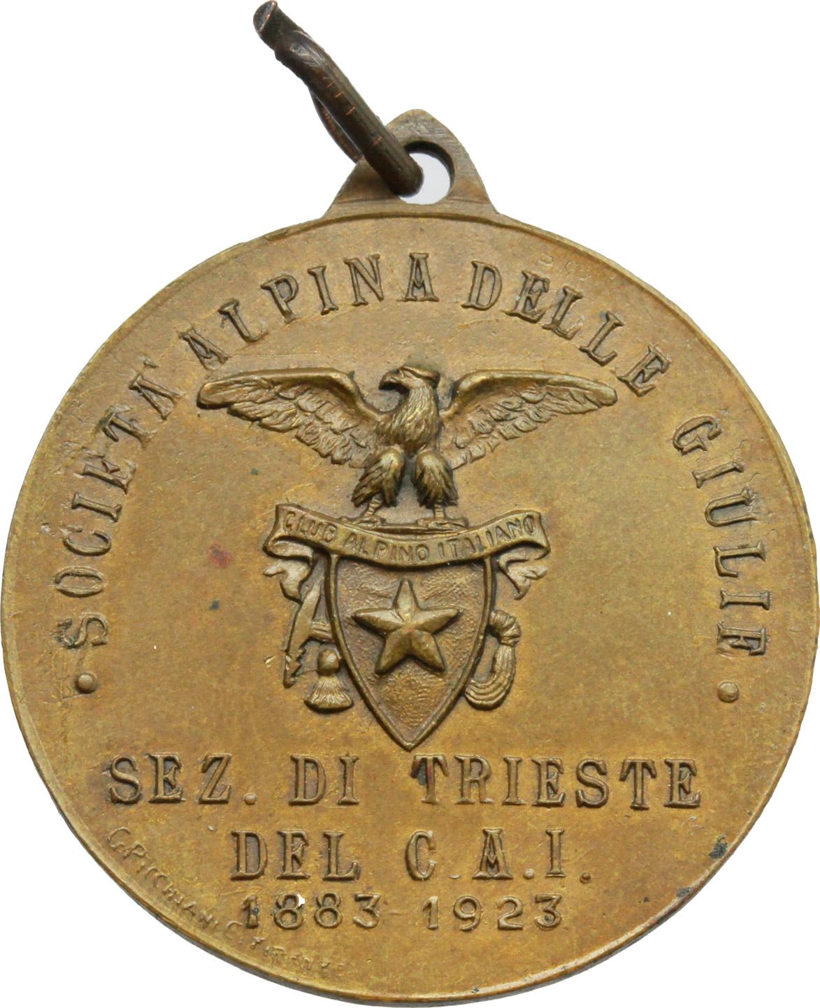 R/ Alpini. Medaglia Società Alpina delle Giulie, sez. di Trieste del C.A.I. 1883-1923. AE.  mm. 30.50 SPL.