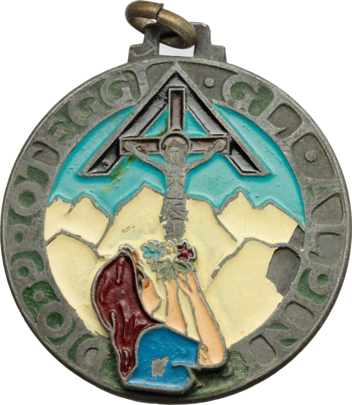 D/ Alpini. Medaglia 'Dio proteggi gli alpini'. AE e smalti.  mm. 37.50 BB.