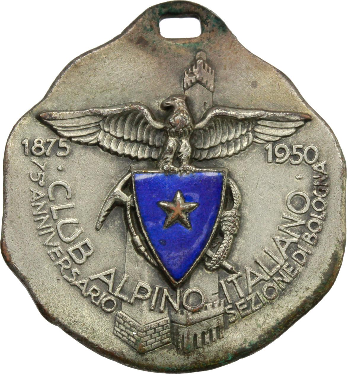 D/ Alpini. Medaglia Club Alpino Italiano. 75° anniversario (1875-1950) Sezione di Bologna. 62° Congresso Nazionale, Madonna dell'acero.     AE argentato e smalti.   mm. 31.00    qSPL/BB+.
