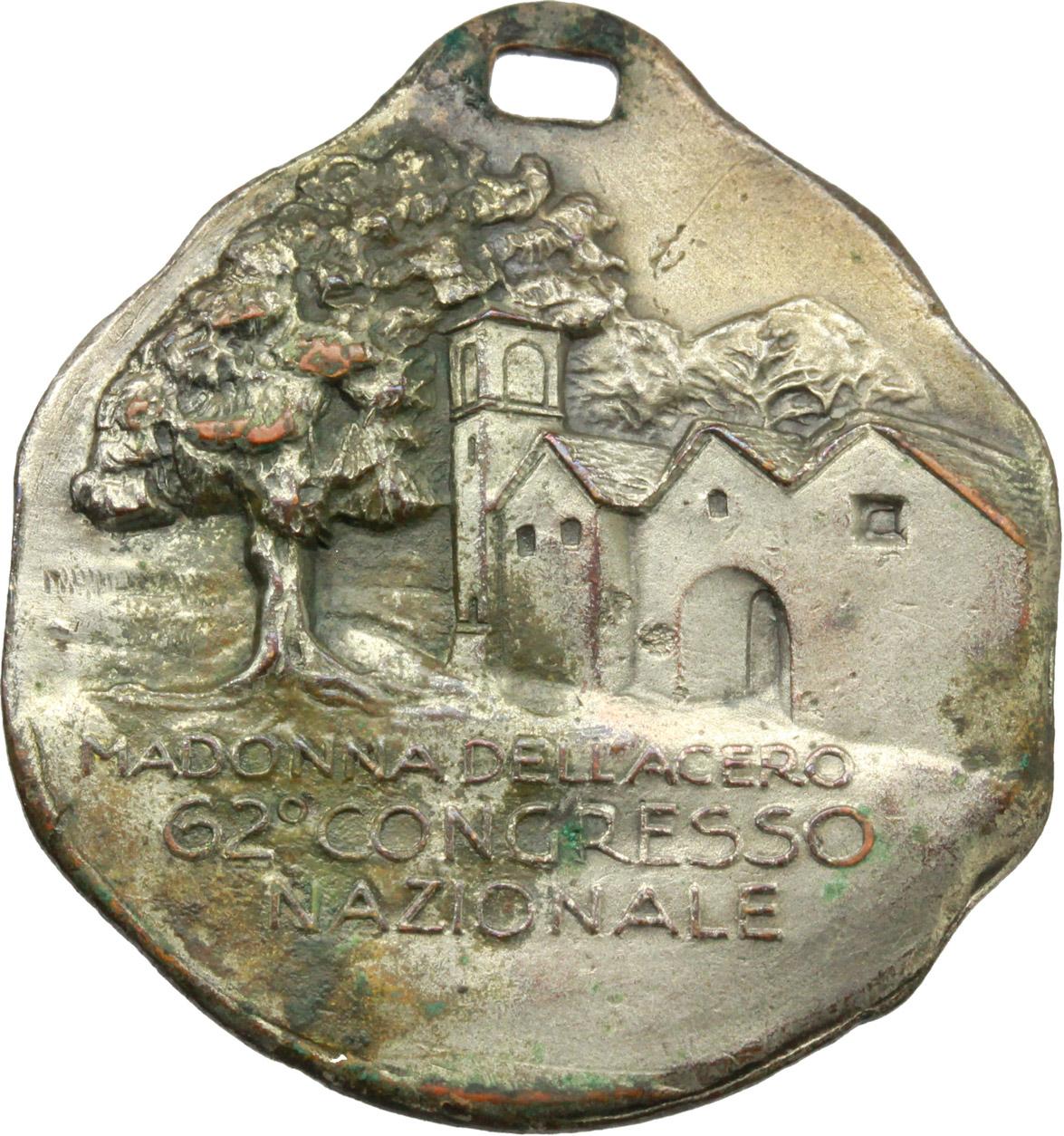 R/ Alpini. Medaglia Club Alpino Italiano. 75° anniversario (1875-1950) Sezione di Bologna. 62° Congresso Nazionale, Madonna dell'acero.     AE argentato e smalti.   mm. 31.00    qSPL/BB+.