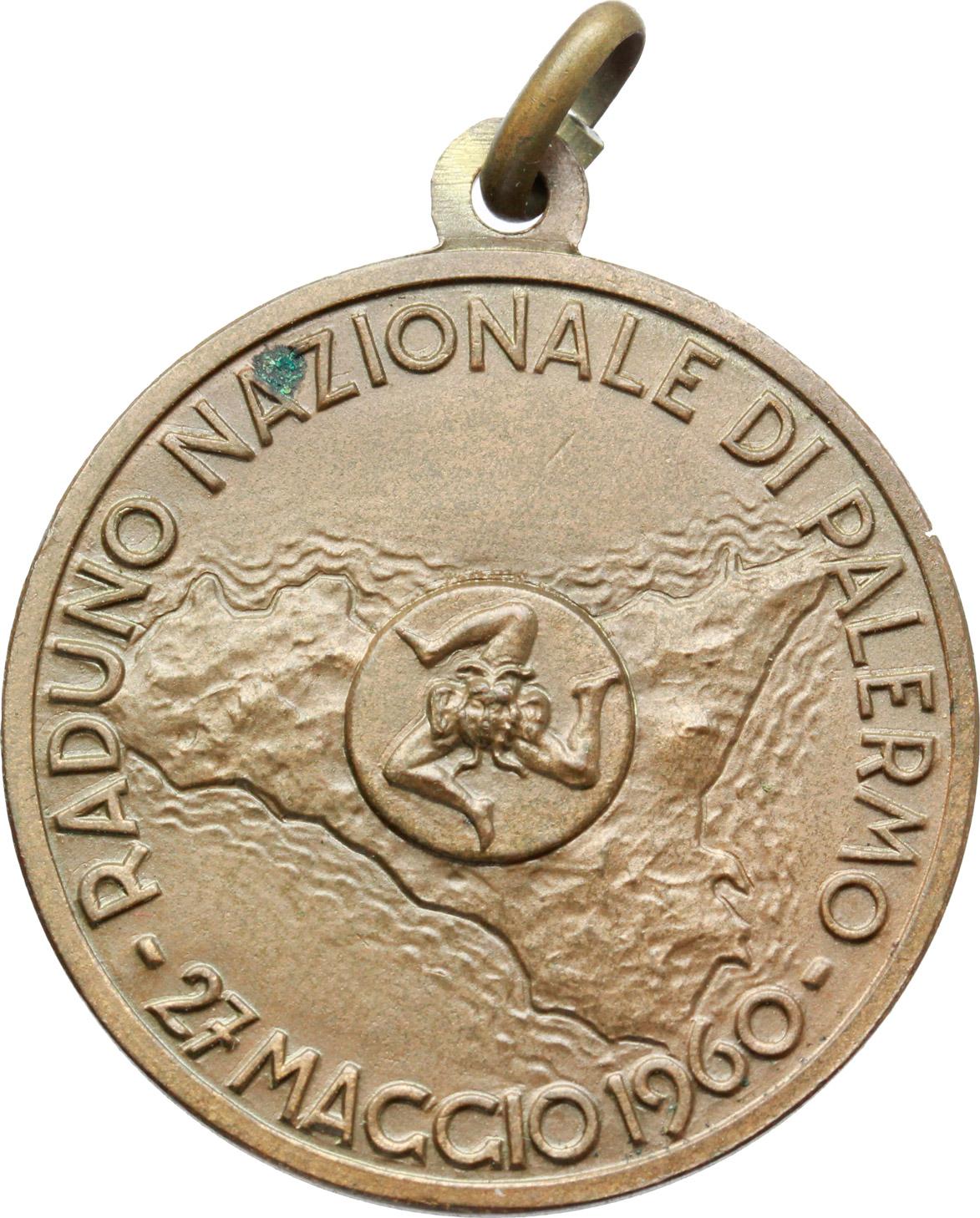 D/  Medaglia Le Associazioni Combattentistiche e d'Arma, 1860-1960. Raduno Nazionale di Palermo, 27 maggio 1960.     AE.   mm. 32.00    SPL.