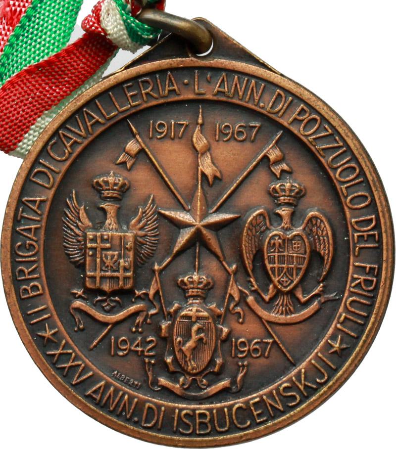 R/  Medaglia e nastrino tricolore Ass. Armata di Cavalleria, XX Raduno Nazionale. Udine, 29-30 Ottobre 1967.     AE.   mm. 38.80    SPL.