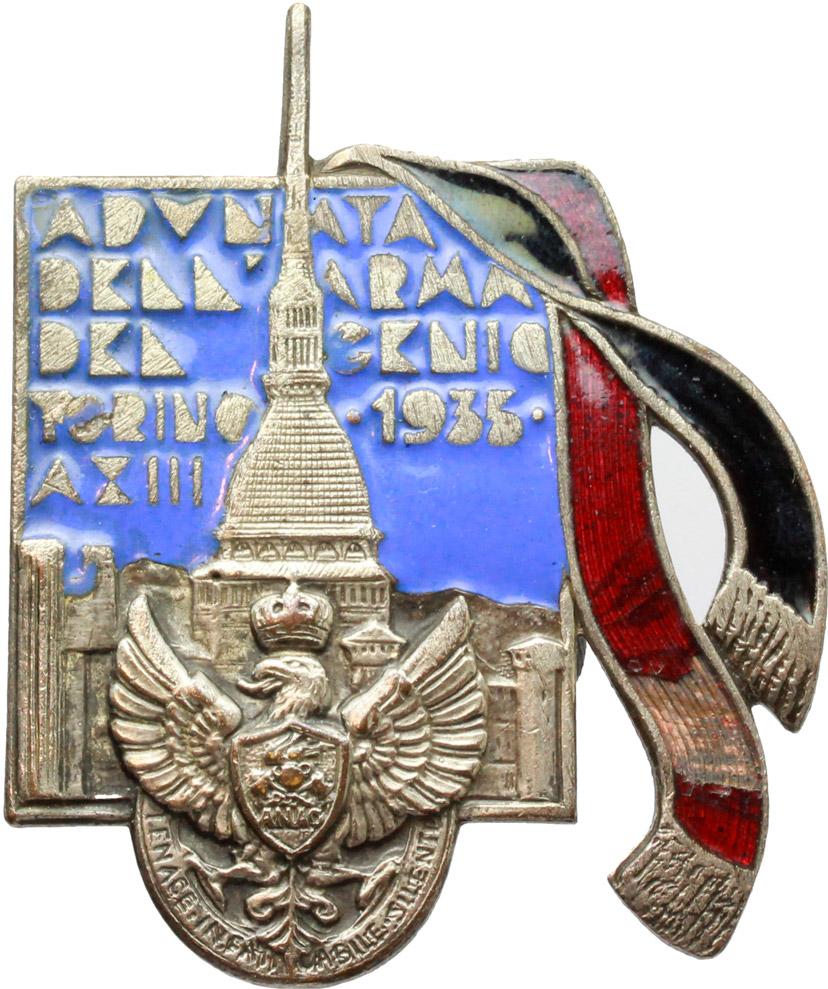 D/  Spilla retatngolare Adunata dell'Arma del Genio. Torino, 1935, A. XIII.     MB e smalti.   mm. 32.00   Dimensioni: 48.5 x 40 mm. Piccola mancanza di smalto. qSPL.