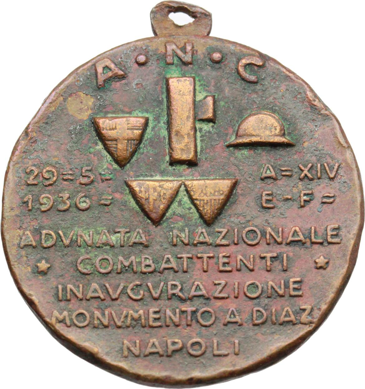 R/  Medaglia A. N. C. Adunata Nazionale Combattenti. Inaugurazione monumento a Diaz, Napoli 29-5-1936, XIV.     AE.   mm. 32.00    qBB.
