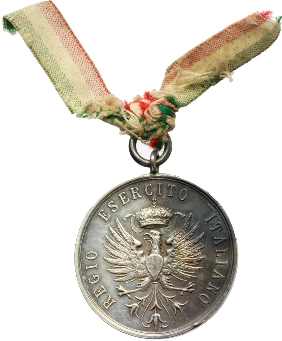 D/ Vittorio Emanuele III (1900-1943). Medaglia Regio Esercito Italiano con nastrino tricolore. Gara di ginnastica, 1° premio Gallini Aldo.     AG.   mm. 30.20    SPL.