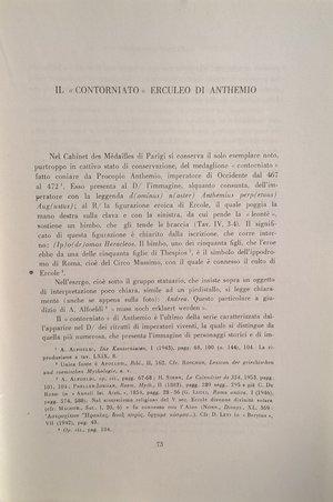 """D/ BABINGER F. – Il """"contorniato"""" erculeo di Anthemio. Roma, 1960. pp. 73-77, 1 tav."""