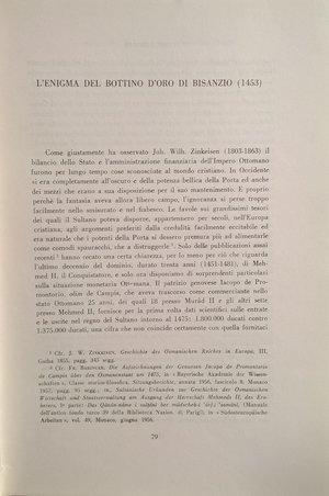 D/ BABINGER F. – L'enigma del bottino d'oro di Bisanzio (1453). Roma, 1960. pp. 79-90.