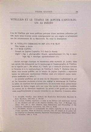D/ BASTIEN P. – Vitellius et le temple de Jupiter Capitolin: un as inedit. Lugano, 1978. pp. 181–202, ill.
