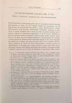 D/ BESSONE L. – La sollevazione gallica del 22 d. C. Floro e Sacroviro: proposta per una interpretazione. Lugano, 1978. pp. 143–162, ill.