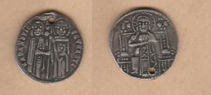 D/ CHIARENZA, Roberto d'Angiò (1333-1364) Grosso ag Lunardi CS7 rara BB+ forata Cartellino di provenienza Numismatica Fiorentina