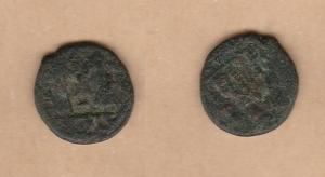 D/ UMAYYAD, Califfato (680-690 d.C.) AE Fals ad imitazione di Costanzo II Emesa SICA 542 MB