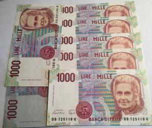 D/ Cartamoneta. Repubblica Italiana. Lotto di 7 Banconote da 1000 Lire Montessori. Ottime Conservazioni.g.f