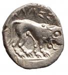 R/ Celti -Gallia Cisalpina.II-III sec. a.C.Dracma,imitazione del tipo massaliota.AG.D/ Testa di Artemide a destra.R/ Leone gradiente a destra.Pesogr. 2,93. Diametromm. 14,70. qSPL.R.