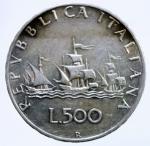 D/ Repubblica Italiana. 500 Lire 1958 Caravelle. Ag. qFDC.§