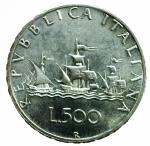 D/ Repubblica Italiana. 500 Lire 1960 Caravelle. Ag. qFDC.§