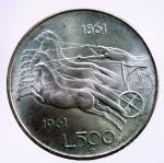 R/ Repubblica Italiana. 500 Lire 1961 Unità d'Italia. Ag. qFDC.§