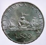 D/ Repubblica Italiana. 500 Lire 1964 Caravelle. Ag. SPL+.§