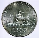 D/ Repubblica Italiana. 500 Lire 1966 Caravelle. Ag. Gig. 14. qFDC.§