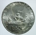 R/ Repubblica Italiana. 500 Lire 1967 Caravelle. Ag. qFDC.§