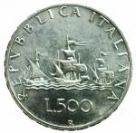 D/ Repubblica Italiana. 500 Lire 1969 Caravelle. Ag. Gig. 14. qFDC.§