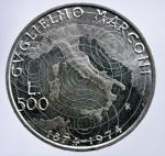 D/ Repubblica Italiana. 500 Lire 1974 Marconi. Ag. qFDC.§